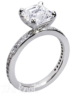 "Exclusively designed by Vatché, this 18K white gold ""La Petite"" engagement ring has a 1ct Asscher cut center diamond and 0.15ct total weight of FG-SI1 Ideal Cut round diamonds in the shank.  Center stone not included."