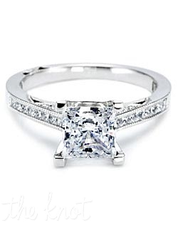 Platinum and diamond Engagement Ring from the Contemporary Crescent Silhouette Collection.  This  ring is pictured with a princess-cut center stone, accented with round pave-set diamonds.  This setting is also available in Petite proportions.