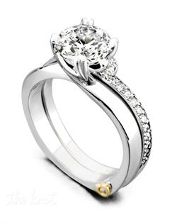 Shown with a 1ct center diamond. Beautiful diamond solitaire. Available in yellow, white, or rose gold, and platinum. Rings can be custom made to fit any size or shape diamond or color center stone. Center stone sold separately. Shown with matching wedding band. Wedding band contains 25 diamonds totaling 0.25ct. Wedding band sold separately.