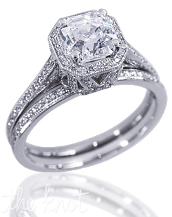 Camelot 14K white gold engagement ring shown here with 1CT Asscher-cut diamond with total 0.35-CT TW round side diamonds. Custom designed to fit any square center diamond. This ring is designed to fit flush with a matching wedding band.