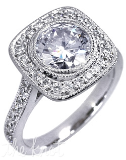 Cannes Heritage 14K white gold engagement ring shown here with 2CT round bezel set diamond with total 0.4-CT TW round side diamonds. Custom designed to fit any center diamond.  This ring is designed to fit flush with virtually any wedding band.