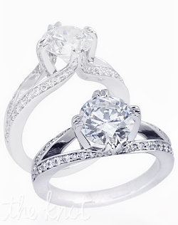 Versailles 14K white gold engagement ring shown here with 1CT round diamond with total 0.35-CT TW round side diamonds. Custom designed to fit any center round diamond.