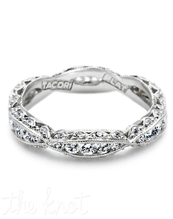 Platinum and diamond eternity Band from the Contemporary Crescent Silhouette Collection. This criss-cross style band is filled with round channel-set diamonds and accented with round pave-set diamond details. Matching engagement ring is style 2578 RD 9.