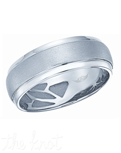 FlyerFit® for Him Mens Band. Palladium 7mm wide. Available in platinum, palladium, and yellow gold.