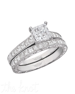 FlyerfIt® Vintage Channel Platinum Hand Engraved Engagement Ring. 12 PC=.50 G-H Si1-SI2