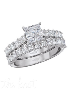 FlyerFit® Classic Shared Prong Platinum Square Radiant Engagement Ring  Total Weight is .70   12 square radiants G VS