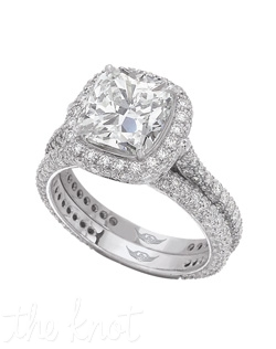 FlyerFit® Classic Micropave Platinum Engagement Ring . 134 Round Diamond .75ct Total Weight. All Diamonds Hearts and Arrows    G-H Vs2-Si1