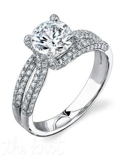 18K White Gold Semi Mount featuring .59cttw natural white diamonds.