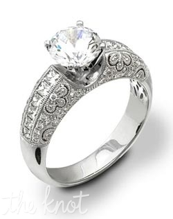 18K White Gold Semi Mount featuring .25cttw round white diamonds and .37cttw princess cut diamonds.