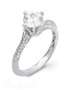 18K White Gold Semi Mount featuring .43cttw round white diamonds.