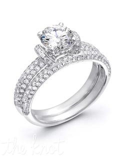18K White Gold Set featuring .72cttw Natural White diamonds.