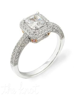 18K White and Rose Gold Semi Mount featuring .52cttw Natural White Diamonds and .02cttw natural pink diamonds.