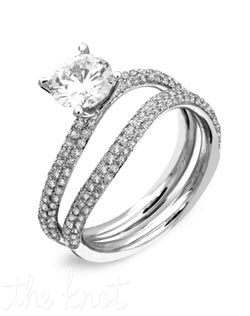 18K White Gold Set Featuring .70cttw natural white diamonds.