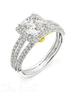 18K White and Yellow Gold Semi Mount featuring .57cttw round diamonds.
