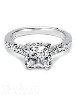Princess likes to party! Dazzling, pave-set diamonds surround a princess-cut center stone. Signature Tacori millwork makes this ring effortlessly special, and the double-split prongs and intricate engravings create heirloom elegance with a modern interpretation. Matching band style is 2630 B SM 1/2.