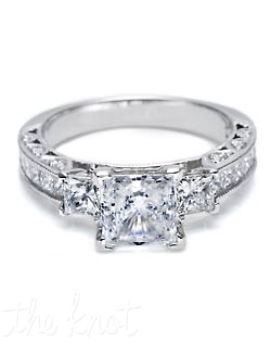 "A trailblazing style on a ""wow"" setting, with channel-set princess-cut diamonds giving the shoulders of the band a streamlined look. Diamonds hand-set in crescent silhouettes make this a signature piece. Matching band is HT 2430 SM B 1/2X."