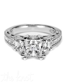 Declare your love with this luminous setting, with unique trapezoid-shaped side stones and sleek channel-set princess cut diamonds illuminating a princess cut center stone. Tapered platinum and crescent silhouette details give this ring a splendid finish.