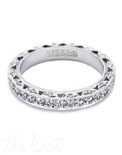 A diamond eternity band with a rounded top and 1.00 carats in diamonds, with diamonds accentuating crescent silhouette details for shine from every angle.