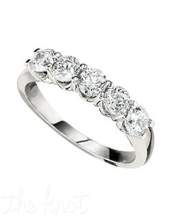The classics never go out of style, this 5 stone shared prong setting ring features 1.00 ct in diamonds.  We have this style of ring in a variety of total weights, from 0.33 to 2.5ct total, and in a variety of stone numbers.  Please visit our site for more information.  100% hand crafted in the USA.  Available in platinum, white gold, yellow gold, and rose gold.