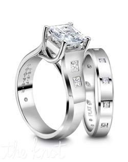 Princess diamonds accent both of these classic rings from our Eternal Collection , Shown here in Platinum, these rings can also be crafted in 18K Gold.  We are able to customize this ring to fit virtually any size and shape center stone you may choose, as well it is available in several width so it can be directly proportionate to your center stone.  The band, R-4016/B is sold separately and features 12 princess cut diamonds, evenly spaced throughout the ring.  100% hand crafted in the USA.  R-2964/P 0.14cts, R-4016/B 0.20cts