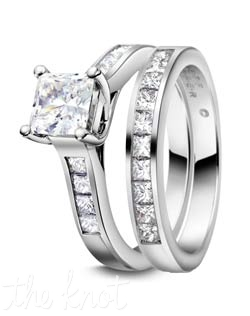 "Platinum and channel set princess cut diamond rings from our ""Eternal Collection"" , Shown here in Platinum, these rings can also be crafted in 18K Gold.  We are able to customize this ring to fit virtually any size and shape center stone you may choose, as well it is available in several width so it can be directly proportionate to your center stone.  The band, R-2974/B is sold separately and is also available in a ""half way"" version(R-2974/BH), a ""three quarters"" version(R-2974/BQ) and eternity version (R-3102/E).  100% hand crafted in the USA. R-2974 0.36 ct ttl, R-2974/B 0.45 ct ttl"