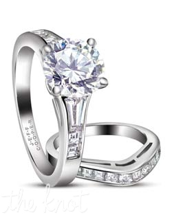 "Platinum and diamond bridal set from the ""Nikole Collection"" pictured here with a round center, this is able to be customized to whatever shape and size diamond you may choose.  The contoured matching band R-3100/B(0.35 ct ttl) is also pictured here, with round and square cut diamonds, but can be made in all squares or all rounds.  100% hand crafted in the USA.  R-3100 0.41 ct ttl. Also available in white gold and yellow gold."