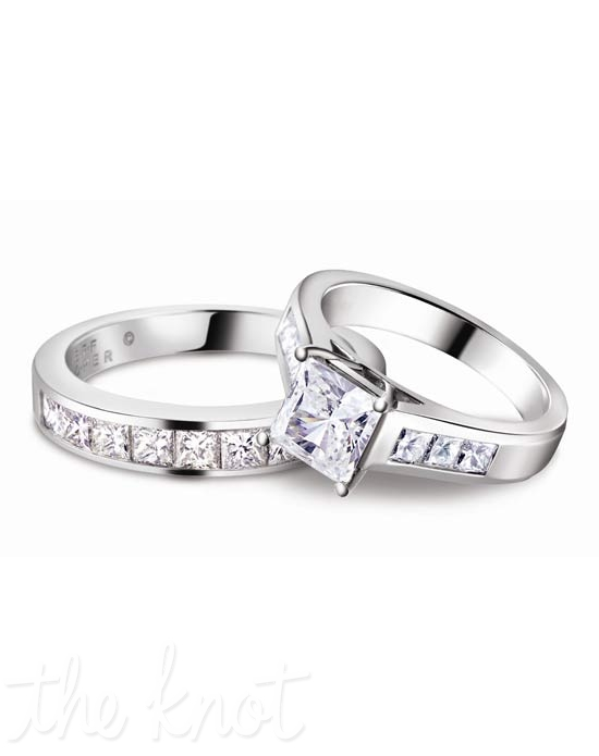 Platinum and princess cut diamond wedding set from Jeff Cooper.  These are also available in 18K White&amp;Yellow gold.  The clean lines of the engagement ring allow the band to sit perfectly seamlessly with its match, making a beautiful set to enhance your center stone.  This ring can be custom designed to fit virtually any shape and size center stone.  Wedding band R-3146/B(0.80 ct ttl) is sold separately.  100% hand crafted in the USA  R-3146 0.60 ct ttl