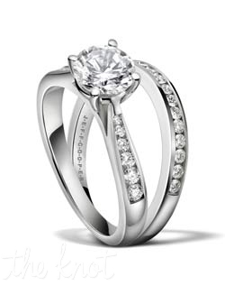 Round diamond engagement set from the Duet Collection, shown here in Platinum.  The ring tapers up towards your center stone to make it more profound and bold.  The matching band R-3266/B(0.20 ct ttl) is sold separately and fits seamlessly with its match.  We can craft this ring to fit any size and shape stone you want to set.  100% hand made in the USA.  Currently featured in the Summer issue of The Knot magazine. R-3266 0.20 ct ttl. Also available in white gold and yellow gold.