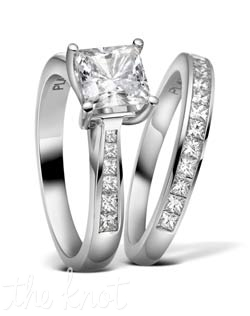 "Princess cut diamond engagement set from the ""Duet Collection"", shown here in Platinum.  The ring tapers up towards your center stone to make it more profound and bold.  The matching band R-3271/B(0.46 ct ttl) is sold separately and fits seamlessly with it's match.  We can craft this ring to fit any size and shape stone you want to set.  100% hand made in the USA.  Currently featured in the Summer issue of ""The Knot"" Magazine.  R-3271 0.35 ct ttl. Also available in white gold and yellow gold."