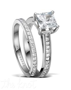"Platinum and princess cut eternity wedding set from Jeff Cooper.  A delicate hand millgrain is applied to the top of each ring to add a vintage feel, and delicate brilliance.  This is a very unique bridal set in that both rings are eternity bands.  These stones are a perfect match for your princess cut diamond center, or any shape you choose.  The matching eternity band, R-3302/E(0.78 ttl ct) is sold separately, and we also offer a ""part way"" version that lines up end to end with the ""part way"" engagement ring R-3306, style R-3306/B(0.27 ttl ct), both look seamless when paired together.  100% hand crafted in the USA R-3302 0.73 ttl ct. Also available in white gold and yellow gold."