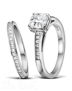 Platinum and square baguette cut diamond wedding set from Jeff Cooper.  A delicate hand millgrain is applied to the top of each ring to add a vintage feel, and delicate brilliance.  These stones are a perfect match for your asscher cut diamond center, or any shape you choose.  The matching eternity band, R-3305/E(0.65 ttl ct) is sold separately, and we also offer a part way version that lines up end to end with the engagement ring, style R-3305/B(0.24 ttl ct), both look seamless when paired together.  100% hand crafted in the USA.  R-3305 0.20 ttl ct. Also available in white gold and yellow gold.