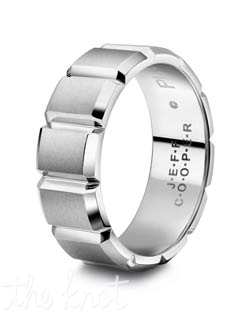Mens wedding band from the Eternal 12 Collection .  Attention to detail is what makes this ring unique, each edge is hand finished to exact tolerances, and polished perfectly.  This ring has 12 sections, one for every month in the year.  Available in many widths, and metals shown here in Platinum, but available in 18K as well as Palladium.  100% hand crafted in the USA.  Currently featured in the summer issue of The Knot magazine.