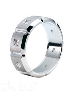Mens wedding band from the Eternal Collection .  Attention to detail is what makes this ring unique, each edge is hand finished to exact tolerances, and polished perfectly.  Available in many widths, with and without diamonds and available in Platinum(shown), 18K as well as Palladium.  100% hand crafted in the USA R-3070 0.45 ct ttl.