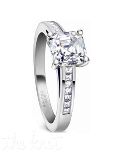 Platinum and square baguette cut diamond engagement ring from the Nikole Collection.  These stones are a perfect match for your asscher cut diamond center, or any shape you choose.  The matching eternity band, R-3109/E(0.65 ttl ct, not shown) is sold separately, and we also offer a part way version that lines up end to end with the engagement ring, style R-3109/B(0.24 ttl ct), both look seamless when paired together.  100% hand crafted in the USA.  R-3109 0.20 ttl ct. Also available in white gold and yellow gold.