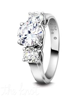 "Classic  round brililant diamond three  stone ring.  We are known for our ""Lattice Collection,"" of elegant and graceful wire work on the side profiles of this ring.  Many rings may look like ours, but look closer and deeper at our styles, the wires are clean and pronounced, polished inside and out, three dimensional wearable art.  You deserve nothing less for your engagement ring.  Shown here in Platinum, but can also be crafted in 18K gold.  We offer this style in a variety of side stone sizes and shapes to fit virtually any size and shape center.  100% hand crafted in the USA."