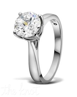"Solitaire round diamond engagement ring from the ""Duet Collection"" , shown here in Platinum.  This ring is available in several widths depending on the size and shape of your center stone.  The ring becomes more delicate  at top towards the center to make your stone be more pronounced and important.    100% hand crafted in the USA. Also available in white gold, yellow gold, and rose gold."