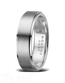 Mens wedding band from the Luxury Collection .  Attention to detail is what makes this ring unique, each edge is hand finished to exact tolerances, and polished perfectly.  A stepped edge creates a dramatic change in appearance, giving depth to this understated and unique wedding band.  Available in many widths, and metals shown here in Platinum, but available in18K as well as Palladium.  100% hand crafted in the USA.