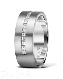 Mens wedding band from the Luxury Collection .  Attention to detail is what makes this ring unique, each edge is hand finished to exact tolerances, and polished perfectly.  Channel set square baguette cut diamonds give this ring a rich and elegant brilliance.  Available in many widths, with and without diamonds and available in Platinum(shown), 18K as well as Palladium.  100% hand crafted in the USA R-3288 0.26 ct ttl.