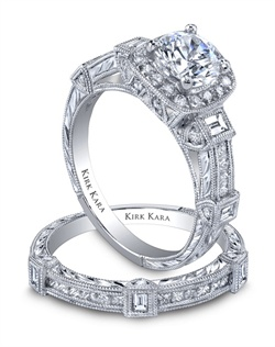 Award winning hand-engraved engagement set from the Kirk Kara Carmella collection. Voted Best Bridal Design by fine jewelry retailers around the country, the engagement ring is crafted with 0.68 carats of diamonds (center stone not included). Shown with matching wedding band crafted with 0.46 carats of diamonds. Available in platinum or 18K white, 18K yellow or 18K rose gold. All Kirk Kara designs are handcrafted and tailored to accommodate your customization requests.