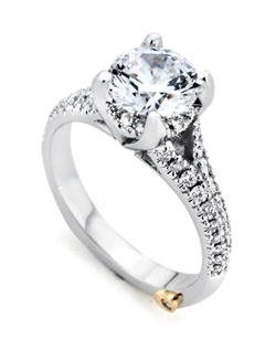 Shown with a 1ct center diamond. Fifty-three diamonds totaling 0.325ct. Available in yellow, white, or rose gold, and platinum. Rings can be custom made to fit any size or shape diamond or color center stone. Center stone sold separately.