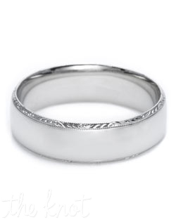 Discover a Passionate union of wedding bands.  Bind your future as a couple with this classic slightly rounded band featuring signature Tacori hand-engraving and milligrain detail.