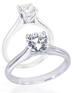 Shown in 14K white gold but also available in 18K or Platinum.  This ring is designed for a round center stone but can also be made for all other shapes.
