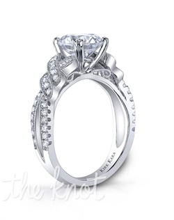 Award winning handcrafted engagement ring from the Kirk Kara Angelique collection. Voted Best Bridal Design by fine jewelry retailers around the country, the engagement ring is crafted with 0.33 carats of diamonds (center stone not included). Available in platinum or 18K white, 18K yellow or 18K rose gold. All Kirk Kara designs are handcrafted and tailored to accommodate your customization requests.