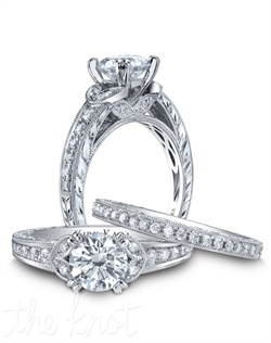 Hand-engraved engagement set from the Kirk Kara Dahlia collection. Engagement ring crafted with 0.23 carats of diamonds (center stone not included). Shown with matching wedding band crafted with 0.17 carats of diamonds. Available in platinum or 18K white, 18K yellow or 18K rose gold. All Kirk Kara designs are handcrafted and tailored to accommodate your customization requests.