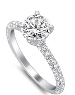 All three sides of this engagement ring are covered in diamonds for a seamlessly sparkling appearance from any view (total weight .83). The center stone also has micro pave up the prongs and around the basket (holds any size or shape), for endless dazzle. Available in platinum, white gold, yellow gold, and rose gold.