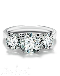 This three stone ring features round Forevermark diamonds, beautifully set in 18k white gold. Three stone rings are available in a range of sizes, qualities and metals.