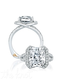 Heritage Art Deco Collection. Radiant Cut Show Stopper. 0.38 ctw. 18kt or platinum.