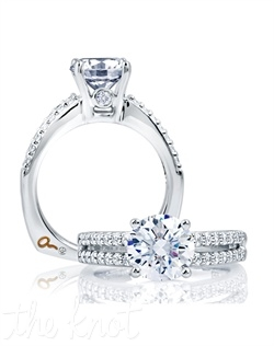 Classic Side Stone Solitaire Ring. 0.40 ctw. 18kt or platinum