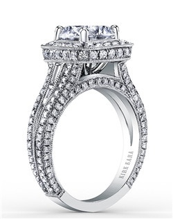 Award winning handcrafted engagement ring from the Kirk Kara Carmella collection. Voted Best Bridal Design by fine jewelry retailers around the country, the engagement ring is crafted with 1.57 carats of diamonds (center stone not included). Available in platinum or 18K white, 18K yellow or 18K rose gold. All Kirk Kara designs are handcrafted and tailored to accommodate your customization requests.