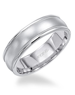 6.5mm wide, Men's  engraved wedding band with round edge, satin finish and milgrain detail.  Available in Platinum, 18K White or Yellow Gold, 14K White or Yellow Gold or Palladium. Pendleton